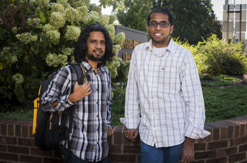 Raja Ganesh (left) and Subramani Sockalingam won first place in the American Society for Composites inaugural Student Simulation Challenge. Photo by Kathy F. Atkinson