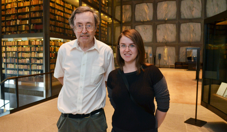 Chemistry professor Robert Crabtree at the Yale Postdoctoral Mentoring Award ceremony with Oana Luca Ph.D. '13, who worked in his laboratory for five years. Image credit: Yale University