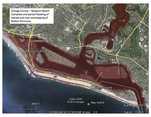 Areas that would be inundated (in red) from the SAFRR Tsunami Scenario in Newport Beach in Orange County, California. This includes complete and partial flooding of islands and near overtopping of Balboa Peninsula. Photo Credit: SAFRR Tsunami Scenario.