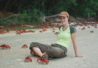 Allison Shaw (above), who conducted the work as a Princeton doctoral student in ecology and evolutionary biology, initiated the study while planning a trip to Christmas Island in 2009. She used global climate data to time her visit with the crabs' migration, but climate alone did not seem to predict crab movement. After reading more about climate change and migration, Shaw realized that her finding that climate generally influences migration via rainfall was valuable. Photo by Allison Shaw, Department of Ecology and Evolutionary Biology