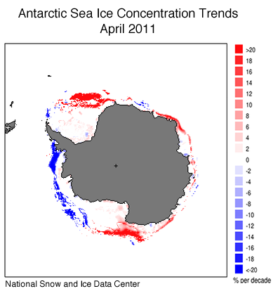 Antarctic sea ice concentration changes from 1981 to 2011. Image credit: U.S. National Snow and Ice Data Center