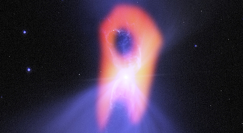"The Boomerang nebula, called the ""coldest place in the universe,"" reveals its true shape to the Atacama Large Millimeter/submillimeter Array (ALMA) telescope. Image credit: NRAO/AUI/NSF/NASA/STScI/JPL-Caltech"