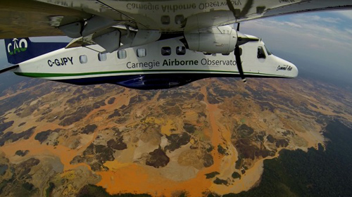 CAO: The Carnegie Airborne Observatory flies over the Madre De Dios region of Peru, where vast deforested and polluted areas result from gold mining. Image courtesy Carnegie Airborne Observatory