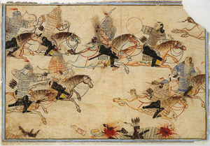 Mounted warriors pursue enemies. Illustration of Rashid-ad-Din's Gami' at-tawarih. Image source: Wikipedia