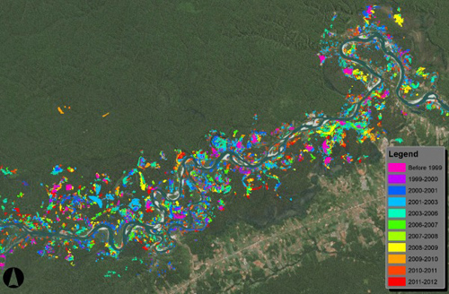 CLASlite: This CLASlite map shows the areas along the Madre De Dios river damaged by small, clandestine gold miners between 1999 and 2012. Image courtesy CLASlite Team