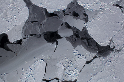 This mixture of different types of Antarctic sea ice was photographed Oct. 13, 2012, by a NASA aircraft flying over the Bellingshausen Sea. Image credit: NASA/Digital Mapping System