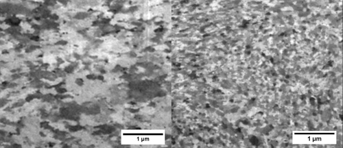 The model correctly predicted the material on the left would not be stable at high temperatures and that the material on the right would retain its nanoscale grain size. Image credit: Mostafa Saber
