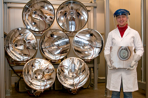 The lamps on the University of Minnesota's solar simulator can concentrate the light of 3,000 suns. Image credit: University of Minnesota