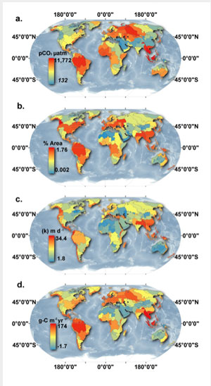 """About 70% of the carbon flux from inland waters occurs in just over 20% of the planet's land surface, including """"hotspots"""" in Southeast Asia, the Amazon, and Central America, where rainfall tends to be greatest. (Image by Peter A. Raymond, et al)"""