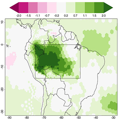 Deforestation will likely produce dry air over the Amazon. The researchers' model indicated that the surface temperature in the Amazon region would increase by up to 2 degrees Celsius (darkest green) over a 14-year period following deforestation. The region of Amazon deforestation is boxed. (Image by David Medvigy, Department of Geosciences)