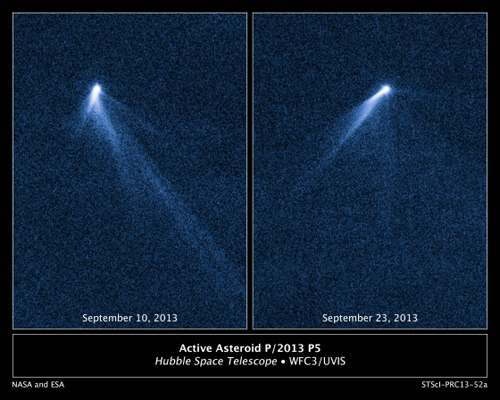 Asteroid spouts six comet-like tails. This NASA Hubble Space Telescope set of images reveals a never-before-seen set of six comet-like tails radiating from a body in the asteroid belt designated P/2013 P5. The asteroid was discovered as an unusually fuzzy looking object with the Panoramic Survey Telescope and Rapid Response System (Pan-STARRS) survey telescope in Hawaii. The multiple tails were discovered in Hubble images taken on September 10, 2013. When Hubble returned to the asteroid on Sept. 23, the asteroid's appearance had totally changed. It looked as if the entire structure had swung around. One interpretation is that the asteroid's rotation rate has been increased to the point where dust is falling off the surface and escaping into space where the pressure of sunlight sweeps out fingerlike tails. According to this theory, the asteroid's spin has been accelerated by the gentle push of sunlight. The object, estimated to be no more than 1,400 feet across, has ejected dust for at least five months based on analysis of the tail structure. These visible-light, false-color images were taken with Hubble's Wide Field Camera 3. Image credit: NASA, ESA, and David Jewitt/UCLA