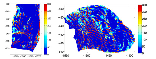 Researchers at Princeton University and the British Antarctic Survey used mathematical modeling and data from satellites and ground-penetrating radar to infer the existence of stripes or ribs (in red) indicating areas of high friction between the glacier and the underlying bedrock. These high-friction ribs slow the movement of ice toward the sea. The image on the left is the Pine Island Glacier and the image on the right is the Thwaites Glacier, both in West Antarctica. (Image courtesy of Olga Sergienko, Program in Atmospheric and Oceanic Sciences)