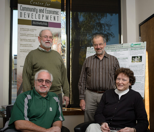 MSU researchers have found a link between childhood participation in arts and crafts activities to patents and businesses owned in adulthood. Back row: James Lawton (left) and John Schweitzer. Front row: Rex LaMore and Eileen Roraback. Photo by G.L. Kohuth