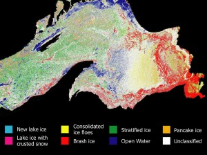 A color-coded image of major ice types on Lake Superior, made from a RADARSAT1 radar backscatter image using a new NASA and NOAA-developed technique. Image credit: NOAA Great Lakes Environmental Research Laboratory and NASA/JPL-Caltech (Click image to enlarge)