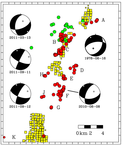 Map showing 2009–2011 earthquakes located in this study (red circles), gas injection wells active since 2004 (yellow squares), and focal mechanisms for regional events (beach balls). A series of small quakes occurred in the same region in 1979 and 1980 (green circles) and may have been related to injection of water for enhanced oil recovery. Sources: EarthScope, Texas Railroad Commission, S.T. Harding, and St. Louis University. Illustration by: Cliff Frohlich/University of Texas at Austin.