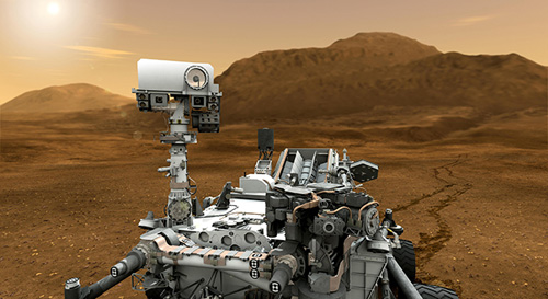 This artist concept features NASA's Mars Science Laboratory Curiosity rover, a mobile robot for investigating Mars' past or present ability to sustain microbial life. Image credit: NASA/JPL-Caltech