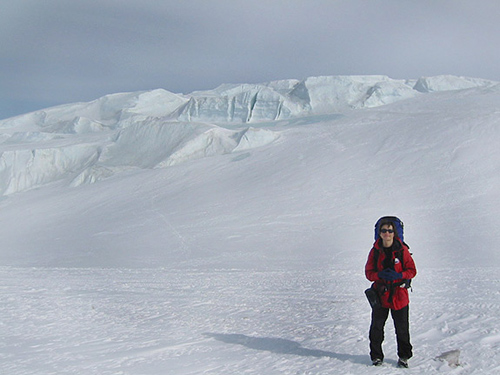 Olga Sergienko, an associate research scientist in the Program in Atmospheric and Oceanic Sciences, shown during a research expedition to the McMurdo Ice Shelf in Antarctica in winter 2006. (Photo courtesy of Olga Sergienko)