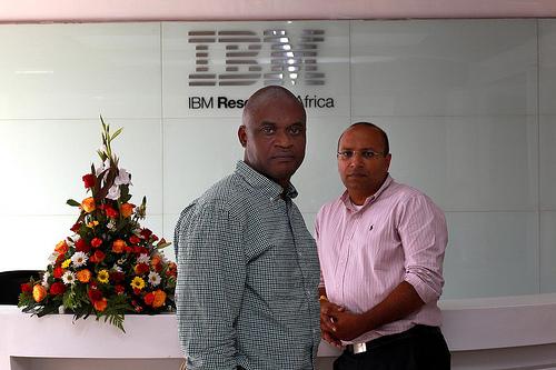 "Dr. Osamuyimen ""Uyi"" Stewart, chief scientist, IBM Research - Africa and Dr. Kamal Bhattacharya, director of IBM Research - Africa, in the lobby of IBM Research - Africa lab in Nairobi, Kenya. Image credit: IBM"