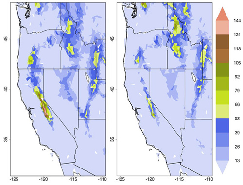 Princeton University-led researchers report that the total deforestation of the Amazon may significantly reduce rain and snowfall in the western United States, including a 50 percent reduction in the Sierra Nevada snowpack that is a crucial source of water for cities and farms in California. The simulation showed that the water equivalent of the snowpack by April 1 decreased in range and depth from pre-deforestation levels (left) when the Amazon was cleared (right). The depth is measured in centimeters with the redder areas indicating more snow. (Image by David Medvigy, Department of Geosciences)