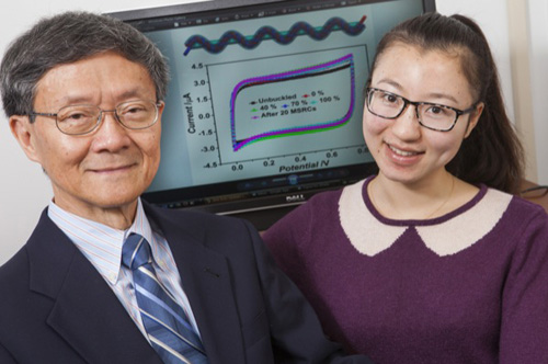 UD's Tsu-Wei Chou (left) with visiting scholar Ping Xu. Photo by Ambre Alexander