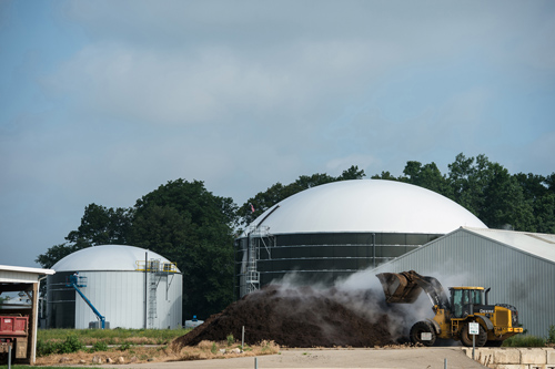 Located on the south side of MSU's campus, this anaerobic digester produces energy to power several buildings. Similar to a biogas power plant, the digester uses natural materials such as plants and food waste to create energy. Photo by G.L. Kohuth.