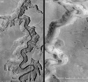 A river ran through it: A split panel comparing a section of Arizona's Grand Canyon, left, with a section of Mars' Nanedi Valles in the Lunae Palus quadrangle of Mars. The northern part of the image shows that a river once cut through it similar to the one flowing through the Grand Canyon. Image credit: NASA / JPL (Click image to enlarge)