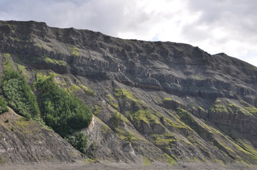 This photo taken along Kotuy River in Arctic Siberia shows the base of the Siberian Traps volcanic sequence. Photo courtesy of MIT's Benjamin Black.