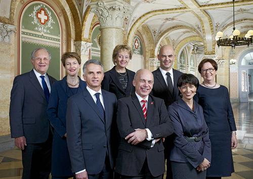 Der Schweizerische Bundesrat, 2013. Image source: Swiss Federal Council. Photographer: Monika Flückiger