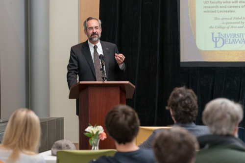 Doug Doren presents a Nobel symposium introduction. Photo by Evan Krape
