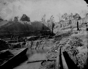 Union soldiers used trickery and force to compel freed slaves to dig a canal at Dutch Gap, VA in 1864. The freedmen's shovels exposed the fossil bed where North America's oldest known eudicot was found. Photo credit: Matthew Brady Collection, 1864, National Archives (Click image to enlarge)