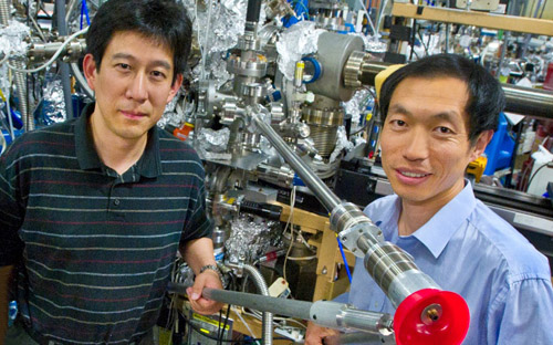 Gao Liu (left) and Wanli Yang at the Advanced Light Source beamline where this research was conducted. Image credit: Berkeley Lab