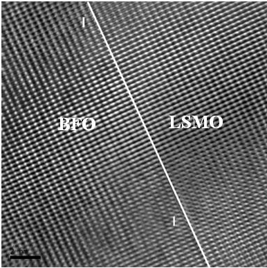 This high-resolution TEM micrograph shows BFO grown on a silicon substrate and aligned with an LSMO (lanthanum strontium manganese oxide) electrode. Image credit: North Carolina State University