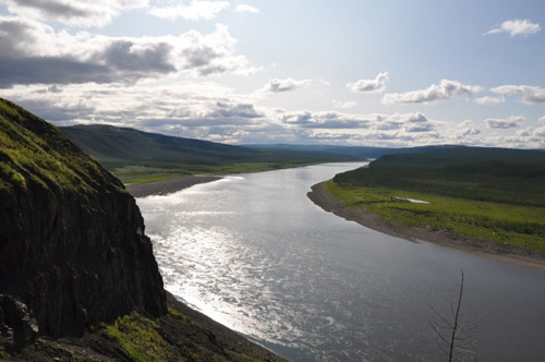 Photo of the Kotuy River in Arctic Sibera, where the base of the Siberian Traps vocanic sequence is shown. Photo courtesy of MIT's Benjamin Black