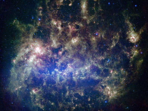 The Large Magellanic Cloud, an irregular galaxy, is visible in the night sky over the Earth's Southern Hemisphere and may contain hidden astronomical wonders yet to be revealed in the images collected by the Large Synoptic Survey Telescope. (Image credit: NASA)