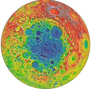 Among the largest known craters in the solar system Red areas on the topographic image indicate high elevations, and blue or purple areas indicate low elevation. The South Pole Aitken basin could hold clues about the composition of the Moon's mantle. Image credit: NASA/GSFC (Click image to enlarge)