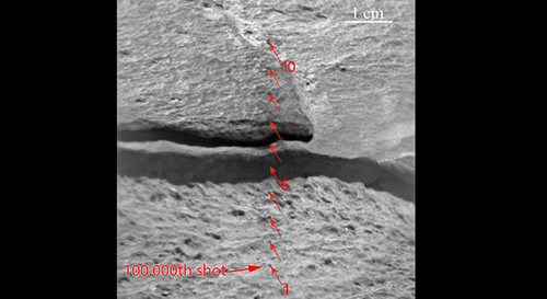 """Since landing on Mars in August 2012, NASA's Curiosity Mars rover has fired the laser on its Chemistry and Camera (ChemCam) instrument more than 100,000 times at rock and soil targets up to about 23 feet (7 meters) away. This mosaic of images from ChemCam's remote micro-imager camera show the rock, called """"Ithaca,"""" that received the 100,000th zapping, and 299 others. The scale bar at upper right is 1 centimeter (0.4 inch). The target was 13 feet, 3 inches (4.04 meters) from the top of Curiosity's mast, where the laser and remote micro-imager are mounted, when the rock was inspected during the 439th Martian day, or sol, of the rover's work on Mars (Oct. 30, 2013). Image Credit: NASA/JPL-Caltech/LANL/CNES/IRAP/UNM"""