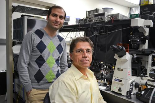 UCLA's Mohammad Asghari (left) with Professor Bahram Jalali. Image credit: University of California