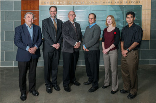 Pictured are Nobel symposium presenters (from left) Stephen Barr, Frederick Bereskin, Kenneth van Golen, Stuart Kaufman, Siobhan Carroll and Sandeep Patel. Photo by Evan Krape