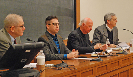 Gabriel Schoenfeld, Spencer Ackerman, James Bamford, and David Schulz in a discussion about the National Security Agency on Dec. 5 at the Law School. (Photo by Alaina Pritchard)