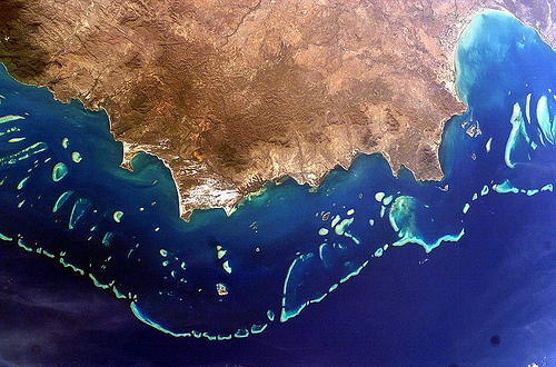 Satellite image of the Great Barrier Reef. Photo Credit: NASA