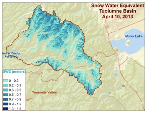 Spatial distribution of snow water equivalent across the Tuolumne River Basin from April 10 to June 1, 2013 as measured by NASA's Airborne Snow Observatory. Image credit: NASA/JPL-Caltech (Click image to enlarge)