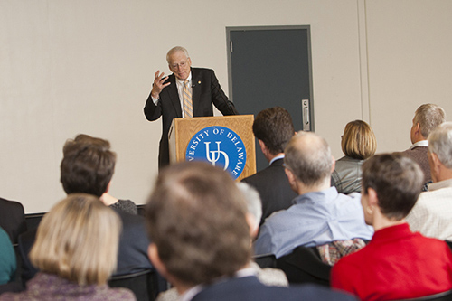 On Dec. 11, William E. (Brit) Kirwan, chancellor of the University System of Maryland (UMS) spoke at UD on the future of research universities. Photos by Ambre Alexander