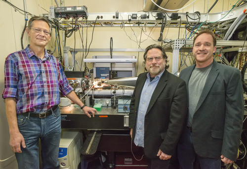 From left, Christer Jansson, John Tainer, and Steve Yannone at the SYBILS beamline at Berkeley Lab's Advanced Light Source. They're among a team of scientists working to make liquid transportation fuel from methane. Image credit: Berkeley Lab