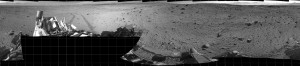 Full-Circle Vista During Curiosity's Approach to 'Dingo Gap'. This mosaic of images from the Navigation Camera (Navcam) on NASA's Mars rover Curiosity shows the terrain surrounding the rover's position on the 524th Martian day, or sol, of the mission (Jan. 26, 2014). Image credit: NASA/JPL-Caltech (Click image to enlarge)