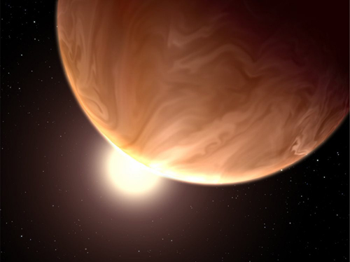 This image shows an artist's view of exoplanet GJ 1214b. Image courtesy of NASA, ESA, STScI-PRC14-06