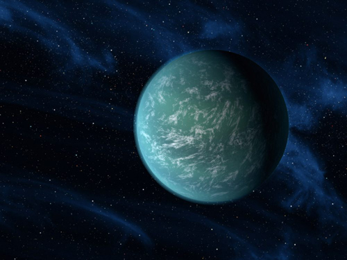 The Milky Way is home to numerous massive terrestrial planets (super-Earths). A new study by researchers at Northwestern University and the University of Chicago challenges conventional wisdom that these planets are probably covered completely in water. Shown here is an artist's conception of Kepler-22b, a planet known to comfortably circle in the habitable zone (where liquid water could persist) of a sun-like star. The planet is nearly 2.4 times the size of Earth. Image courtesy of NASA/Ames/Jet Propulsion Laboratory-Caltech