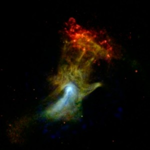 Can you see the shape of a hand in this new X-ray image? The hand might look like an X-ray from the doctor's office, but it is actually a cloud of material ejected from a star that exploded. NASA's Nuclear Spectroscopic Telescope Array, or NuSTAR, has imaged the structure in high-energy X-rays for the first time, shown in blue. Lower-energy X-ray light previously detected by NASA's Chandra X-ray Observatory is shown in green and red. Image credit: NASA/JPL-Caltech/McGill (Click image to enlarge)