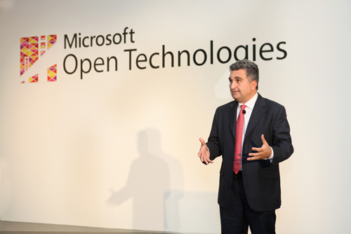 Jean Paoli, President of Microsoft Open Technologies, Inc., during his keynote at the launch of Microsoft Open Technologies in Shanghai, China on Jan. 16, 2014. Image credit: Microsoft