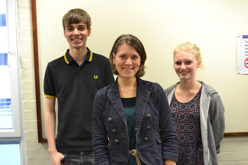 Dr Laurel MacKenzie and two students George Bailey (from Manchester) and Jessica Fox (from Southampton). Image credit: University of Manchester