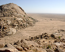 A large dried lake in the White Nile Valley floor. Image: David Haberlah